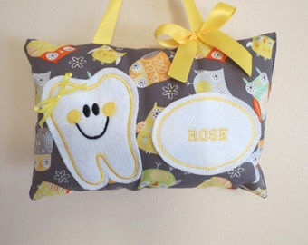 Owl Tooth Fairy Pillow - Personalized - Embroidered Tooth Fairy Pillow
