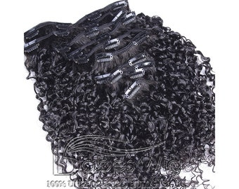 Unprocessed Virgin Brazilian Remy Human Hair Tight Kinky Curly Clip In Human Hair Extensions 10 PCS/Lot 100G 120g 160G Clip Ins Weave Hair