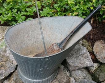 Vintage Galvanized Ash Pail / Coal Scuttle Bucket with Shovel