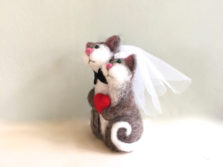 Needle felted cat wedding cake topper cat cake topper needle