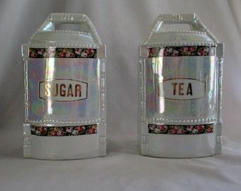 Vintage German Lustreware Canisters w/Rose Flower Bands ~ Sugar & Tea ~ Lovely Lustre