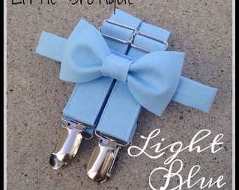 Light Blue Bow Tie and Suspender Set for babies, toddlers, boys, and men. Sent 3-5 business days after you order.