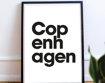 Scandinavian style type, Copenhagen, printable typography, Digital Download, black and white, minimal,