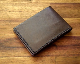 A Slim Kangaroo Leather Wallet With Under Pockets - Havanna Colour