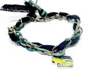 Green leather Bracelet,Lace Bracelet,Hemp Bracelet,Bohemian Bracelet,Chain Link Bracelet,Gypsy Bracelet,Gifts for her,Gift for him,Macrame