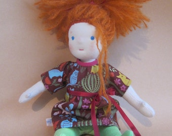 Willow soft doll with red hair, Forest dress, green stocking  12 in, Waldorf style
