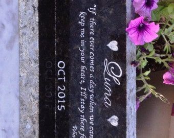 "Pet Memorial Marker, Long, Horizontal Multi Pet Marker, Granite Base Incl* Headstone, 12"" X 3-1/2"" X 1""* Hand Engraved,~DESIGN YOUR Own"