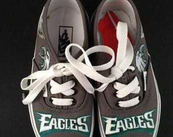 Handpainted Custom Vans Shoes Sneakers (KIDS) - Philadelphia Eagles Football Sports Superbowl