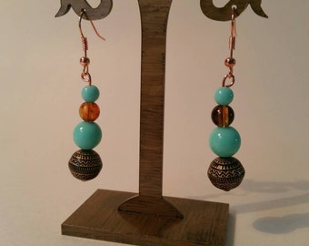 Bronze and turquoise drop earrings