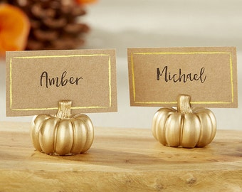Gold Pumpkin Place Card Holder Set of 6 Seasonal Rustic Fall Wedding Placecards Table Numbers Thanksgiving Reception Bridal Shower Decor