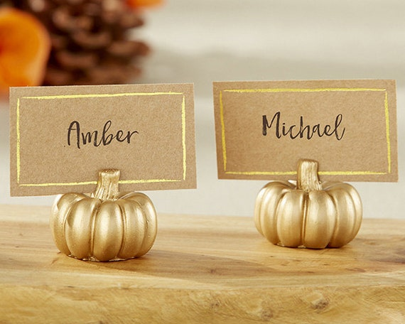 Gold Pumpkin Place Card Holder Set Of 6 Seasonal By
