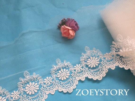 Vintage design lace trim mesh embroidery