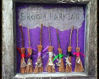 Handmade 'Broom Parking' wooden painted frame.