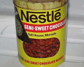 Vintage Nestle's Morsels Tin, Collectible Tin, Vintage Tin, Rustic Tin, Home Decor, Collectible, Vintage Tin