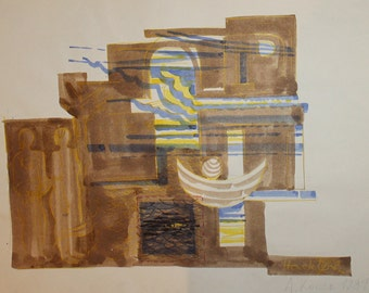 1984 Abstract Cubist Constructivist WC Painting Signed