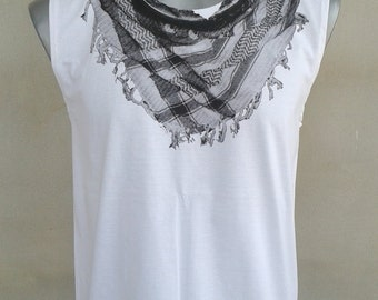 Scraf Art Screen  Tank Top Tunic  Vest  T shirt  White Size M