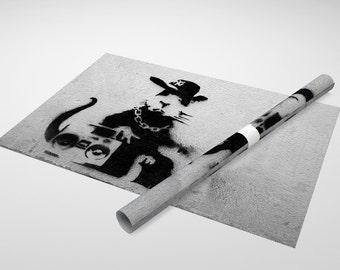 Banksy Boom Box Rat Archival Canvas Print