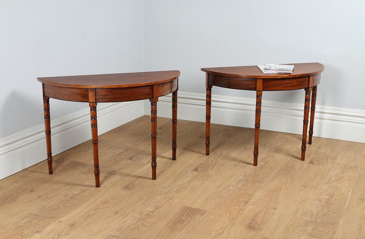 Antique english pair of regency mahogany demi lune console - Table haute console ...