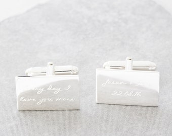 Personalised Engraved Message Silver Cufflinks, message, personalised message, for him, for daddies, best man, personalized,engraved,wedding