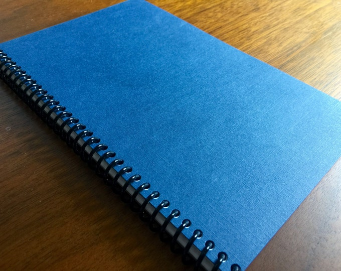 Textured Navy Blue Notebook 5 x 8 Spiral Bound Faux Textured Design Pattern Notebook Blank Paper Notebook steno book memo book LOGO FREE