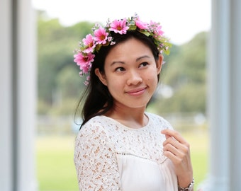 Pink Daisy Flower Crown for Weddings Bridal Bridesmaid Coachella and Parties