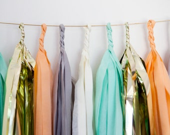 Peach, Grey, White, Mint & Gold Tassel Garland