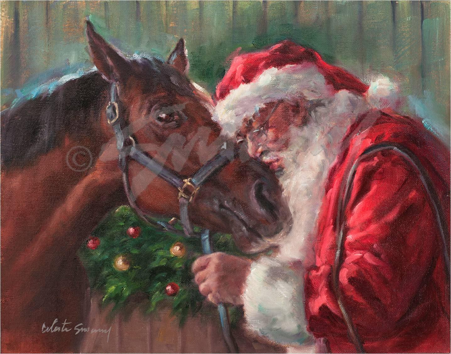 Christmas Card Of Santa Kissing His Horse Santa