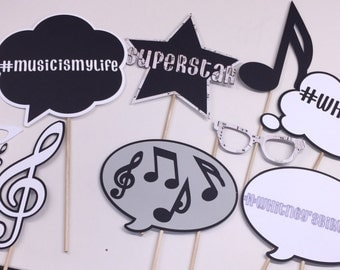 Music themed photo booth props