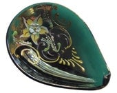 Vintage Deep Teal Murano Art Glass Pin Dish with Enameled Flowers 24K Gold Italian Glass