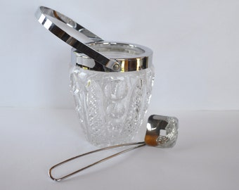 French Vintage Crystal Ice Bucket with Matching Spoon  * Cut Crystal Cooler * Chiller * Champagne * Barware * Retro