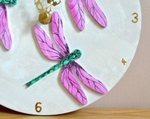 Dragonfly Wall Clock - Small Circle Clock, Non-Ticking, wooden, Unusual Hand Painted Clock, summer style, 3D, Kitchen, Lounge, Bedroom Decor