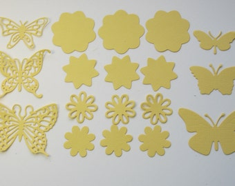 Spring die cuts, Summer die cuts, Butterfly die cuts, Flower die cuts, Yellow butterfly, Yellow flower