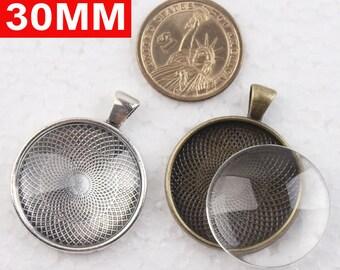 30sets free shipping 30mm Pendant Trays + glass cabochon set, Blank Pendant Bases,Bezel Pendant Settings