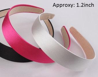 30mm Hair clips satin hair accessories tiara Wholesale Satin headbands Plastic headbands Fashion acessorios para cabelo Hairpins