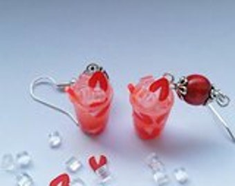 strawberry mojito earrings - Couleur-lavande polymer clay jewelry