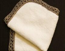 Baby Burp Cloth, Crochet Edged Face Cloth, Baptism Square, Soft Organic Bamboo Towelling Square, Bronze Silk Crochet Lace Edge Border