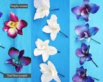 Set of 4, HAIR / BOBBY PINS, Dendrobium orchids, blue Galaxy orchids, purple, aqua, ivory, turquoise, teal, pink, Real Touch flowers, Silk