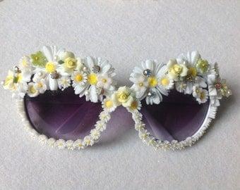 Statement sun glasses ,Daisy Garden, vintage velvet flowers,daisies, porcelain english roses,rhinestones