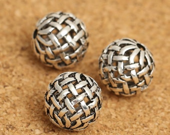 5 Sterling Silver Basket Weave Beads, Sterling Silver Hollow Round Bead, Sterling Silver Weave Bead, Celtic Bead, Round Ball Bead 10mm -F113