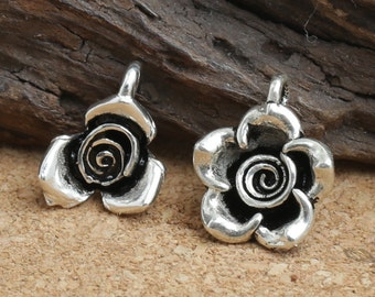 5 Sterling Silver Rose Charms, 925 Silver Rose Charms, Sterling Silver Flower Charms, 925 Silver Flower Charms - E573