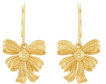 Victorian Design 14k Yellow Gold Vintage Inspired Flirty Feminine Bow Earrings