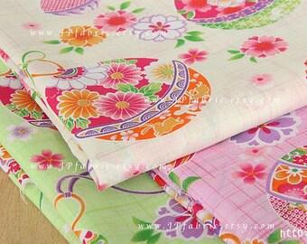 Ornaments Fabric. Japanese Sakura Fabric. Green Printed Cotton Fabric. JP100230