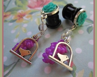 Sang out to the Sky bird stretched dangle Kawaii earrings EAR PLUG you pick the gauge size 2g, 0g, 00g aka 6mm, 8mm, 10mm