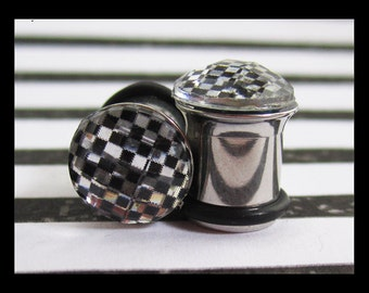 Checkered Pattern dome on stainless steel Wedding EAR TUNNELS you pick the plug gauge size - 6g, 4g, 2g, 0g aka 4mm, 5mm, 6mm, 8mm