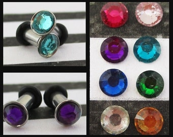 Rhinestone on a Stainless Steel EAR TUNNELS plug gauge size - 8g - 3mm, you pick the color of rhinestone