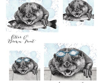 Hand Drawn 'Otter & Brown Trout' and 'Swimming Lessons' Limited Edition Prints