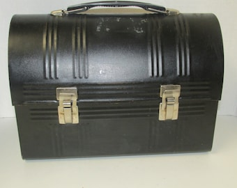 Vintage Black Metal Aladdin Lunch Box USA / Lunch Pail Retro Dome Lunch Box