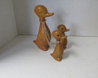 Vintage Wooden Duck with Ducklings