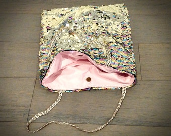 Sequins Tote Bag in Blush & Gold