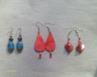 Shells, stones and acrylic art earrings